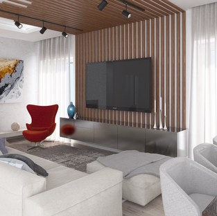 Minimalistinio stiliaus interjero dizainas su tašeliais