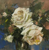 """White Roses, 16"""" x 16"""", acrylic on canvas, framed, SOLD"""