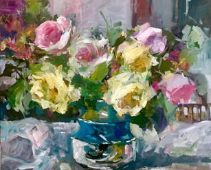 """Spring Roses And Sunshine 20"""" x 24"""", acrylic on canvas, framed SOLD"""