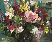 """Spring Roses, 12"""" x 14"""", acrylic on canvas, framed"""
