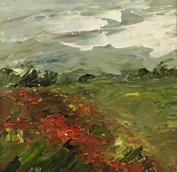 """Poppy Farms, 7"""" x 7"""", acrylic on canvas, framed, SOLD"""