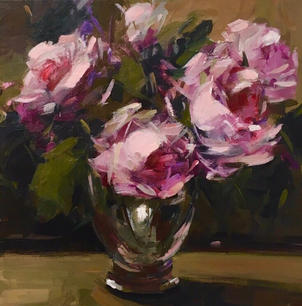 """Pink Roses In A Glass 16"""" x 16"""", acrylic in canvas, framed"""
