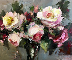 "Spring Bouquet 20"" x 24"", acrylic on canvas, framed"