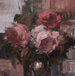"""Rainy Days 16"""" x 16"""", acrylic on canvas, framed"""