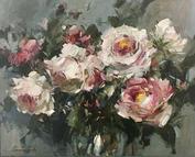 """Spring Garden Roses, 30"""" x 24"""", acrylic on canvas, framed"""