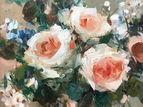 Roses Blooming In June, unframed