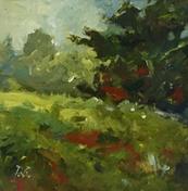 """Hilltops, 7"""" x 7"""", acrylic on canvas, framed"""