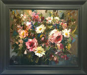"""Spring Roses From The Valley, 20"""" x 24"""", acrylic on canvas, framed"""