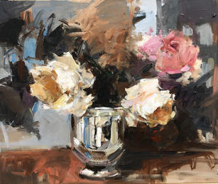 """Roses And Silver 20"""" x 24"""", acrylic on canvas, framed SOLD"""