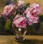 "Pink Roses On A Windowsill, 16"" x 16"", acrylic on canvas, framed"