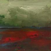 """Poppy Season, 7"""" x 7"""", acrylic on canvas, framed"""
