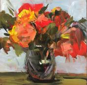"""Summer Roses, 10"""" x 10"""", acrylic on canvas, framed"""