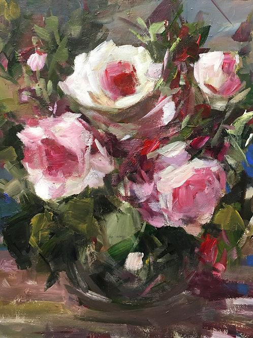 Roses in Black Vase, unframed