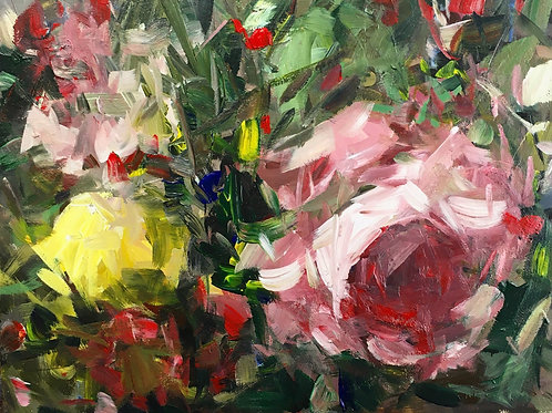 Hedge Roses and Berries, unframed