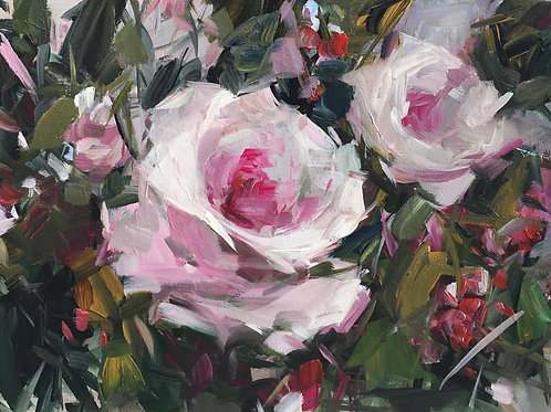 Pink Roses and Red Berries, unframed