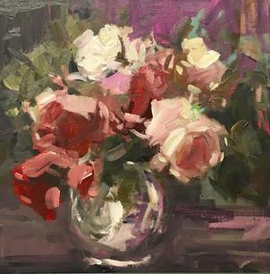 "Roses Of Love 16"" x 16"", acrylic on canvas, framed"