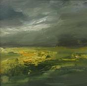 "Yellow Farmlands, 9"" x 9"", acrylic on canvas, framed, SOLD"
