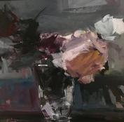 """Evening Light, 16"""" x 16"""", acrylic on canvas, framed"""