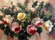 "Sunshine Roses, 24"" x 30"", acrylic on canvas, framed"
