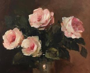 "Roses In A Dark Room 20"" x 24"", acrylic on canvas, framed"