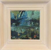 """Reflections In A Pond, 9"""" x 9"""", acrylic on canvas, framed"""
