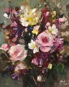 "Spring Wild Flowers, 12"" x 14"", acrylic on canvas, framed"