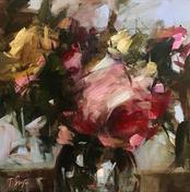 """Roses And Blue Sky, 16"""" x 16"""", acrylic on canvas, framed"""