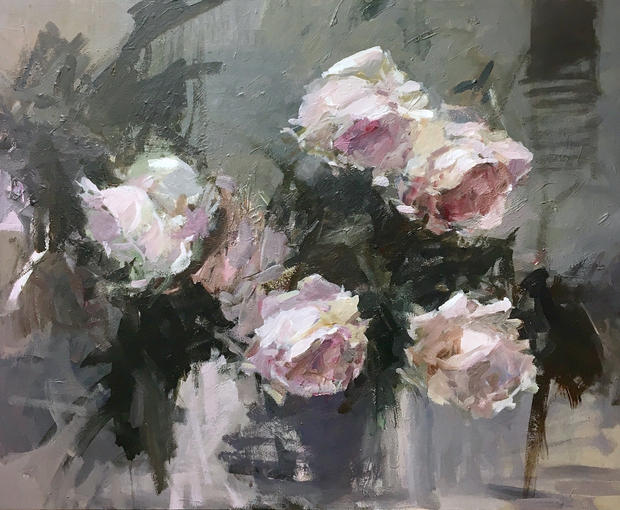 """Dancing Roses 30"""" x 24"""", acrylic on canvas, framed"""