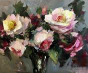 """Spring Roses, 20"""" x 24"""", acrylic on canvas, framed"""