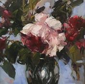 """Blue Sky And Roses, 16"""" x 16"""", acrylic on canvas, framed"""