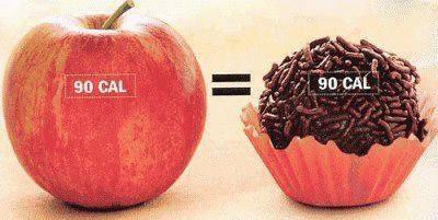 maçã e brigadeiro calorias