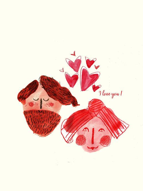 I love you - Handmade Valentines Card