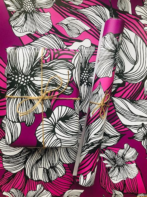 Purple Wrapping Paper- Botanical Illustration