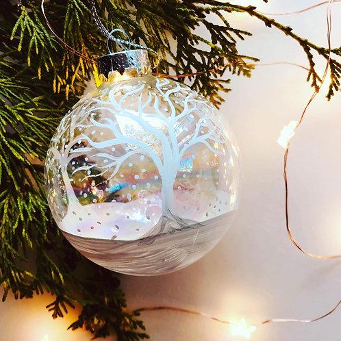 White Christmas Bauble - Handmade