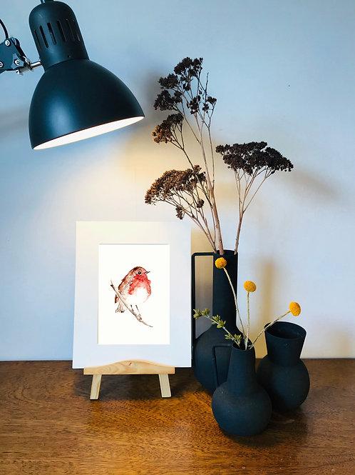 Handmade Watercolour Christmas Robin Print