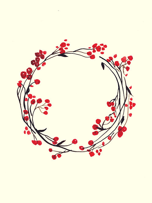 Red Berry - Christmas handmade card