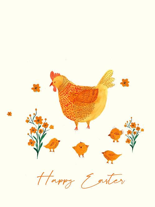 Easter hen handmade greeting card