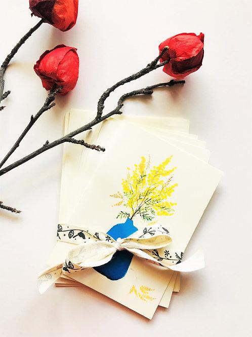 Set of 4 Blue Vase Cards