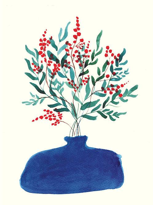 Blue Vase with  Eucalyptus