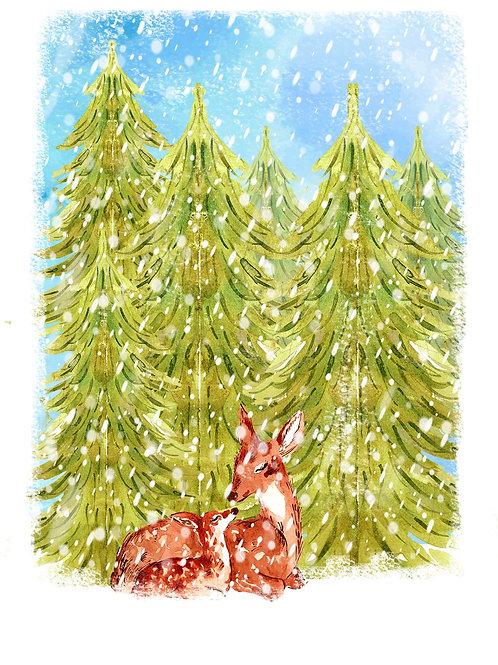 Deer family - Christmas card