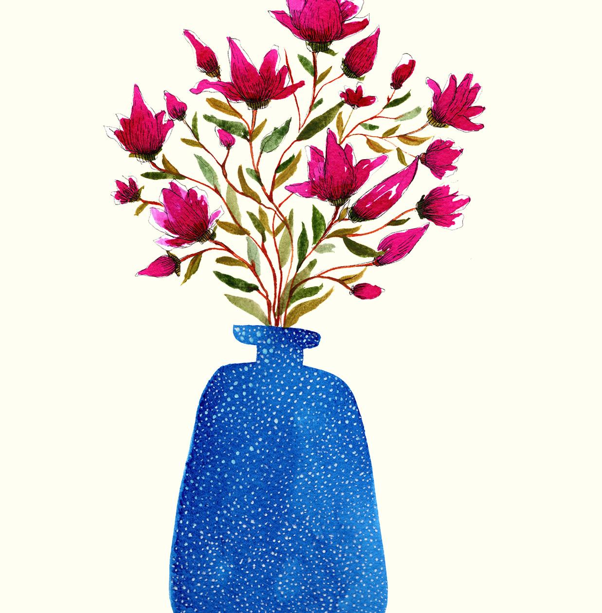 Magnoolia in Blue Vase
