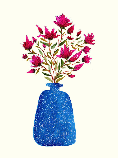 Blue Vase with Magnolia