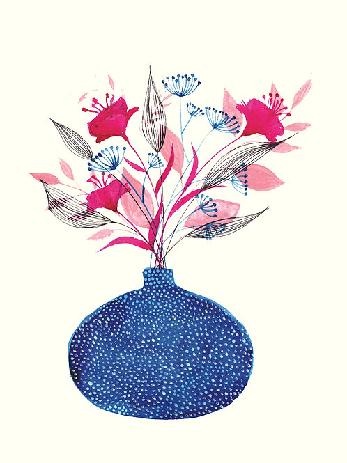Blue Vase with Pink Flowers