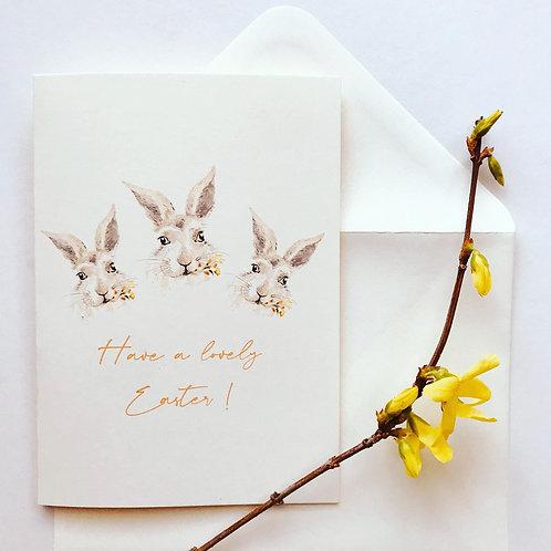 Easter bunny - handmade greeting card