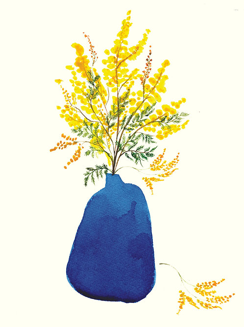 Blue Vase with Mimosa