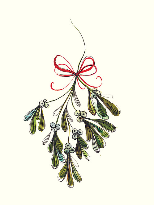 Mistletoe - Christmas handmade card