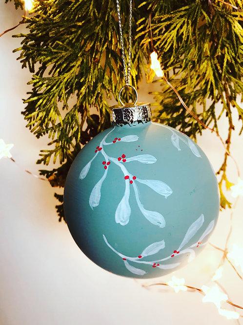 Sage Green Christmas Bauble - Handmade
