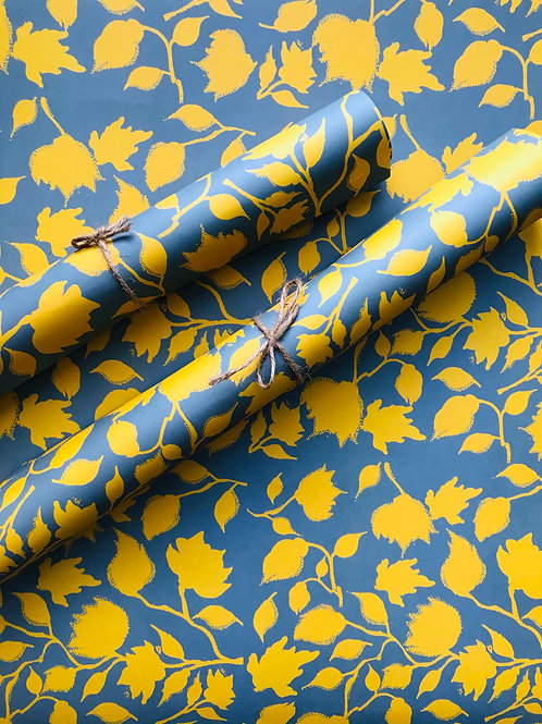 Wrapping paper - Yellow and sage green