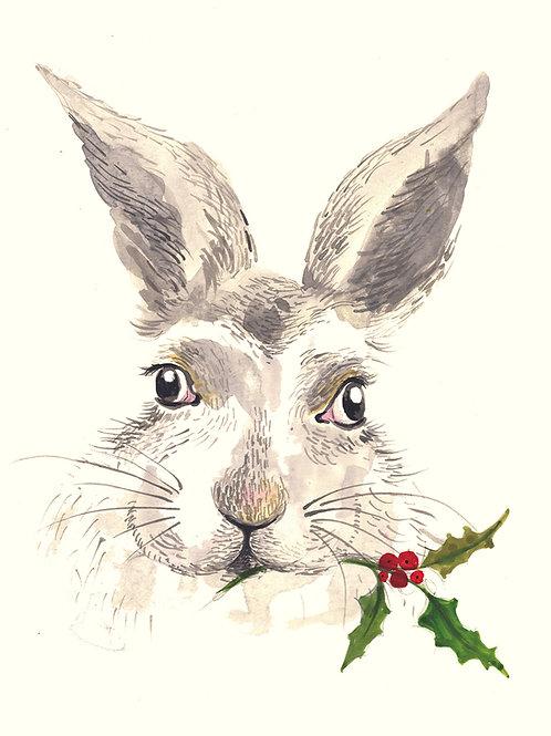Rabbit - Christmas handmade card