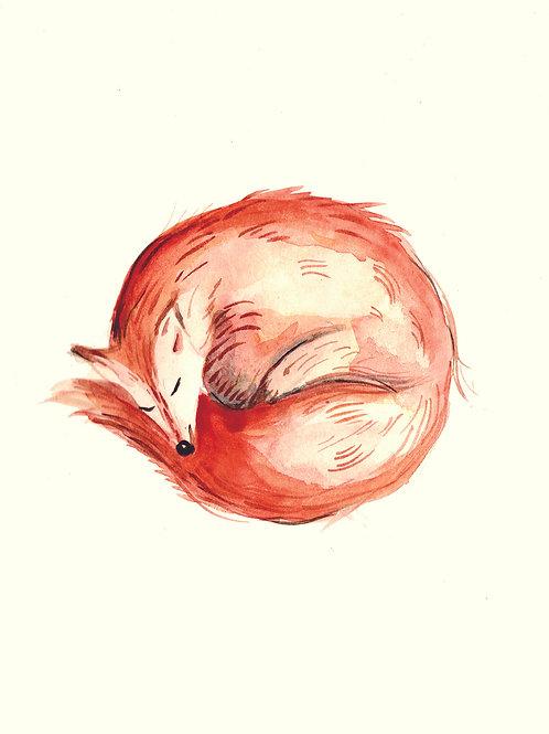 Sleepy Fox - Christmas handmade card